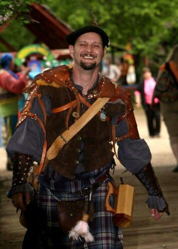 Renaissance Faire costume for men, Kilt and doublet