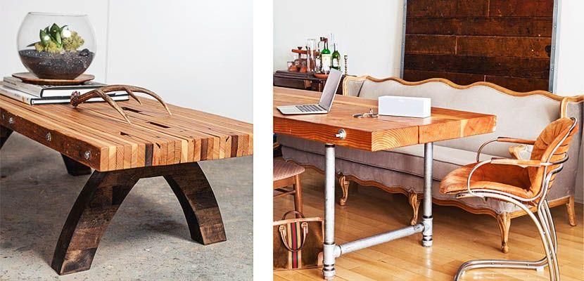 crea tu propia mesa con tablones de madera diy te gusta