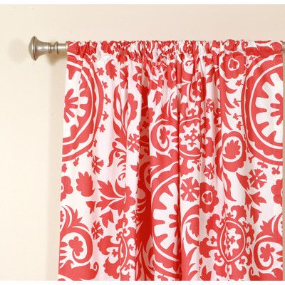 Love the color and pattern of this curtain. [The Pillow Collection Suzani Coral White Rod Pocket Curtain]