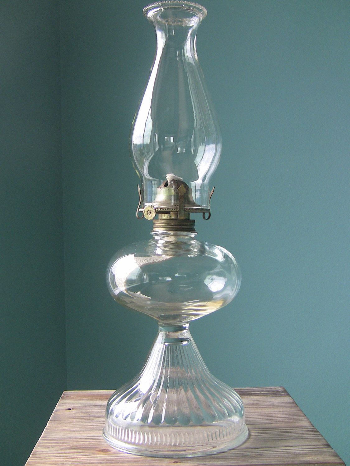 This clear glass Turkey Foot oil lamp is a fine example of the ...