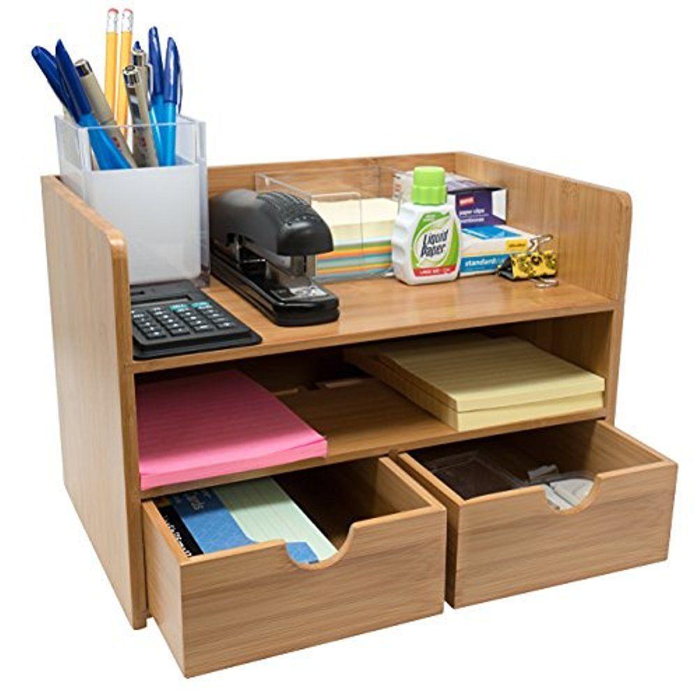 Sorbus 3 Tier Bamboo Shelf Organizer For Desk With Drawers Ebay Organized Desk Drawers Desk With Drawers Desk Storage