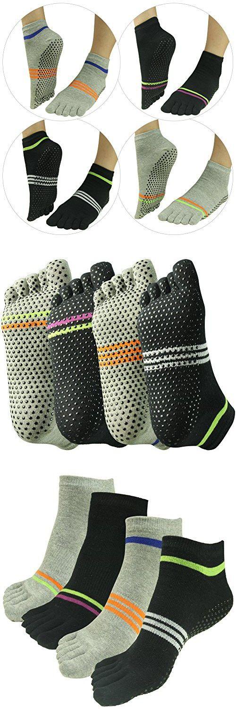 33e592120 Yoga Pilates&Barre Grip Socks,J'colour Women's Men's Non-Slip Skid for  Exercise Training Fitness Ankle Sports Toe Socks 4 Pairs