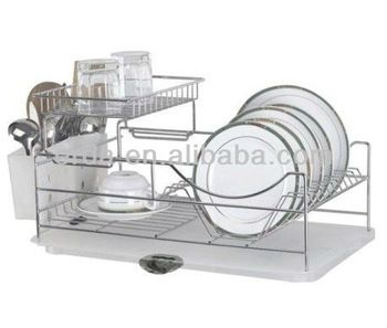 Two Tiers Compact Dish Rack Kitchenware Dish Drying Rack Dish