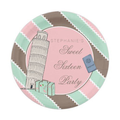 Italian Spumoni Leaning Tower Sweet 16 Birthday Paper Plate  sc 1 st  Pinterest : italian paper plates - pezcame.com
