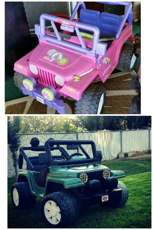 Power wheels, Before and After, when you can't afford a new one, all you need is some spray paint ;)