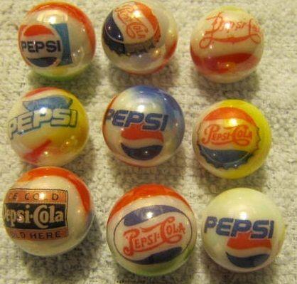 Pepsi Cola Logo Glass Marbles 5 8 Size Pepsi Cola Pepsi