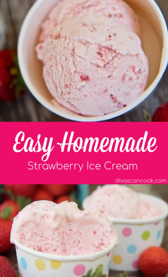 Easy Homemade Strawberry Ice Cream Recipe Recipe In 2020 Homemade Strawberry Ice Cream Strawberry Ice Cream Recipe Cuisinart Ice Cream Maker Recipes