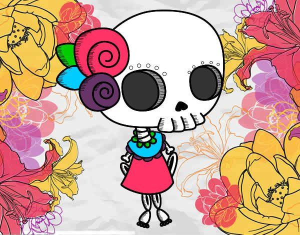 Frida Kahlo Kawaii Para Colorear: Dibujo De MINI CATRINA Pintado Por Camila536 En Dibujos