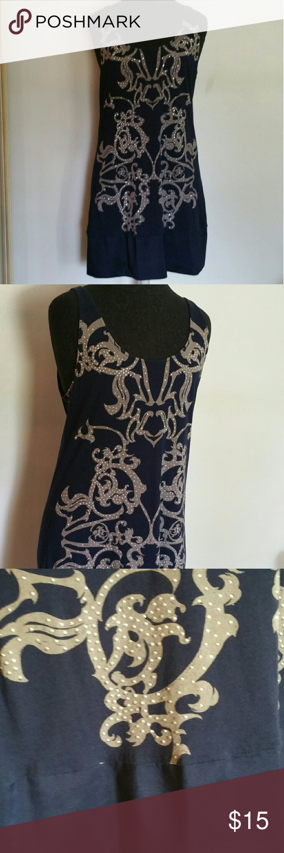Embellished dress Deep tank top dress with gray and studded design. Bottom is about a 3 inch band. Express Dresses Midi