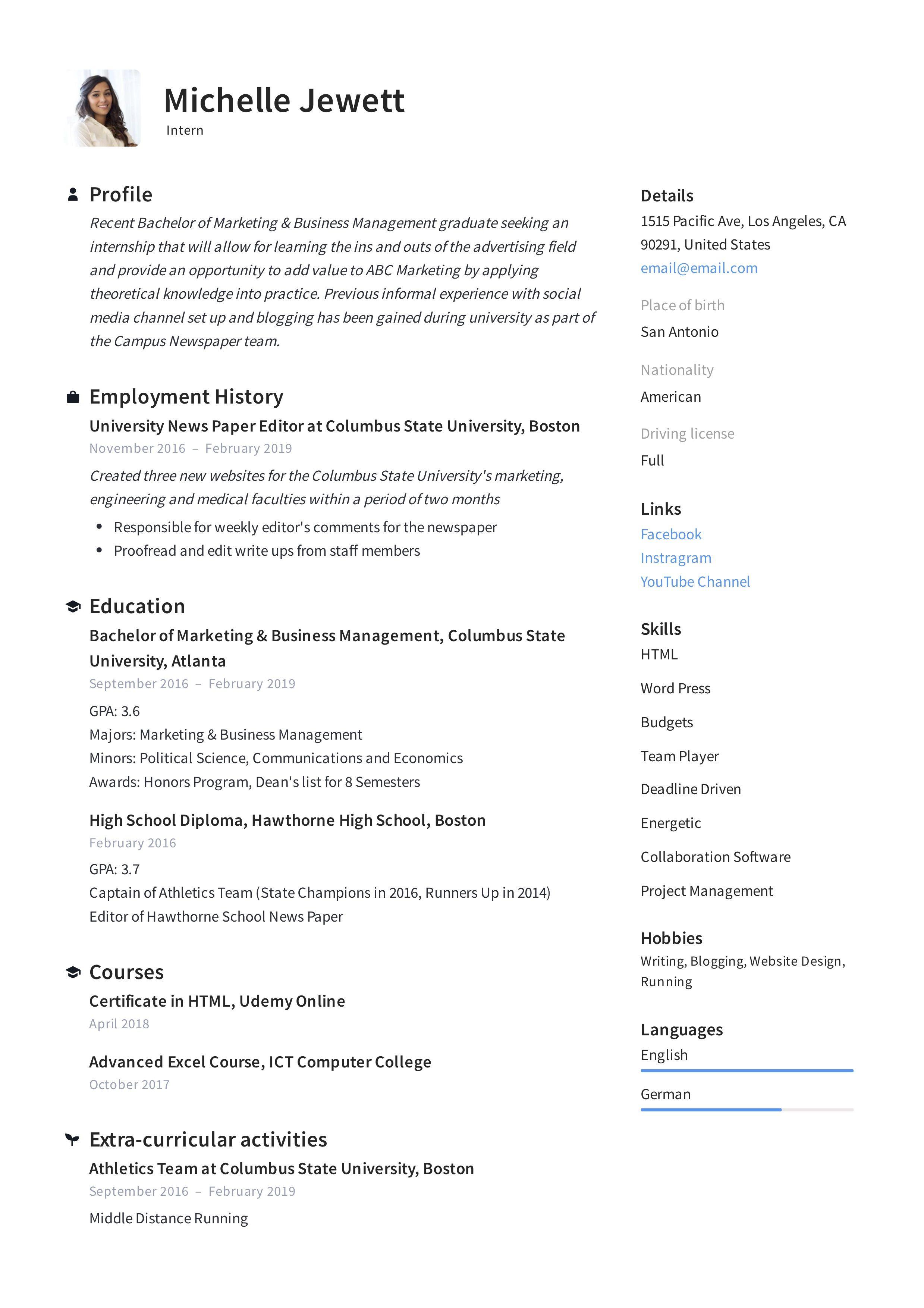 Intern Resume Template Internship Resume Job Description Template Medical Resume Template