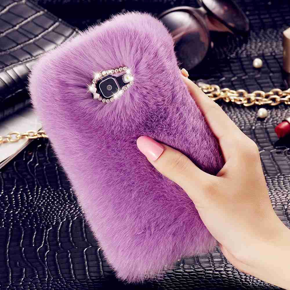 finest selection 1c440 fbf98 Rabbit Hair Fur Cases For iPhone 7 6s 6 Plus Case For Samsung Galaxy ...
