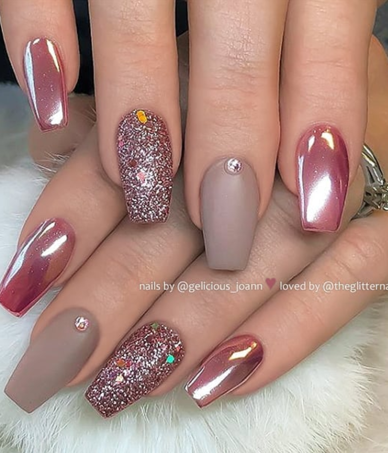 Acrylic Burgundy Coffin Nails With Designs