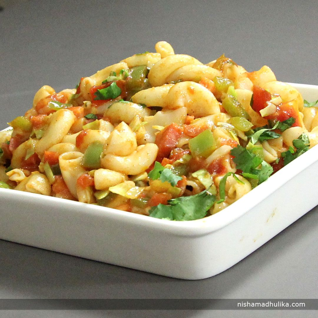 Veg Macaroni Is An Indian Style Macaroni Prepared With Desi Spices And Green Vegetables Recipe In English Http Indiangoodfood Com 1601 Eten Pasta Recepten