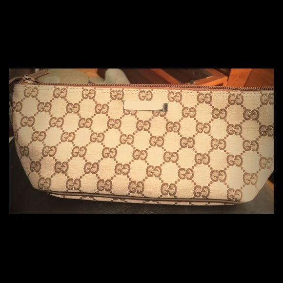 5c2b20de47d Pink brown Gucci Pochette Gucci Monogram limited addition beige pink  canvas
