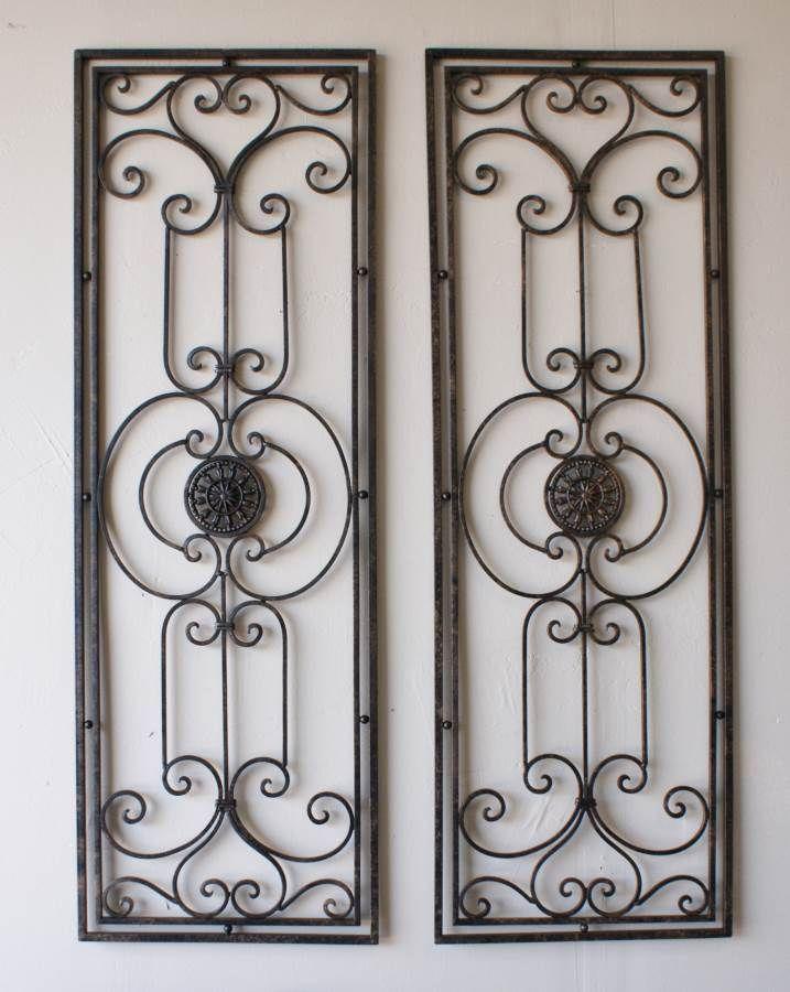 tuscan large scrolling wrought iron wall grille set tuscan