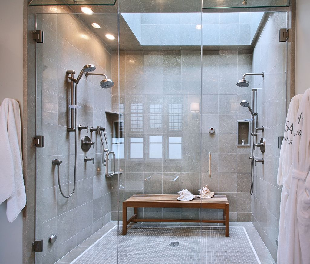 Genial Bathroom With Glass Steam Shower Stall And Wooden Bench The .