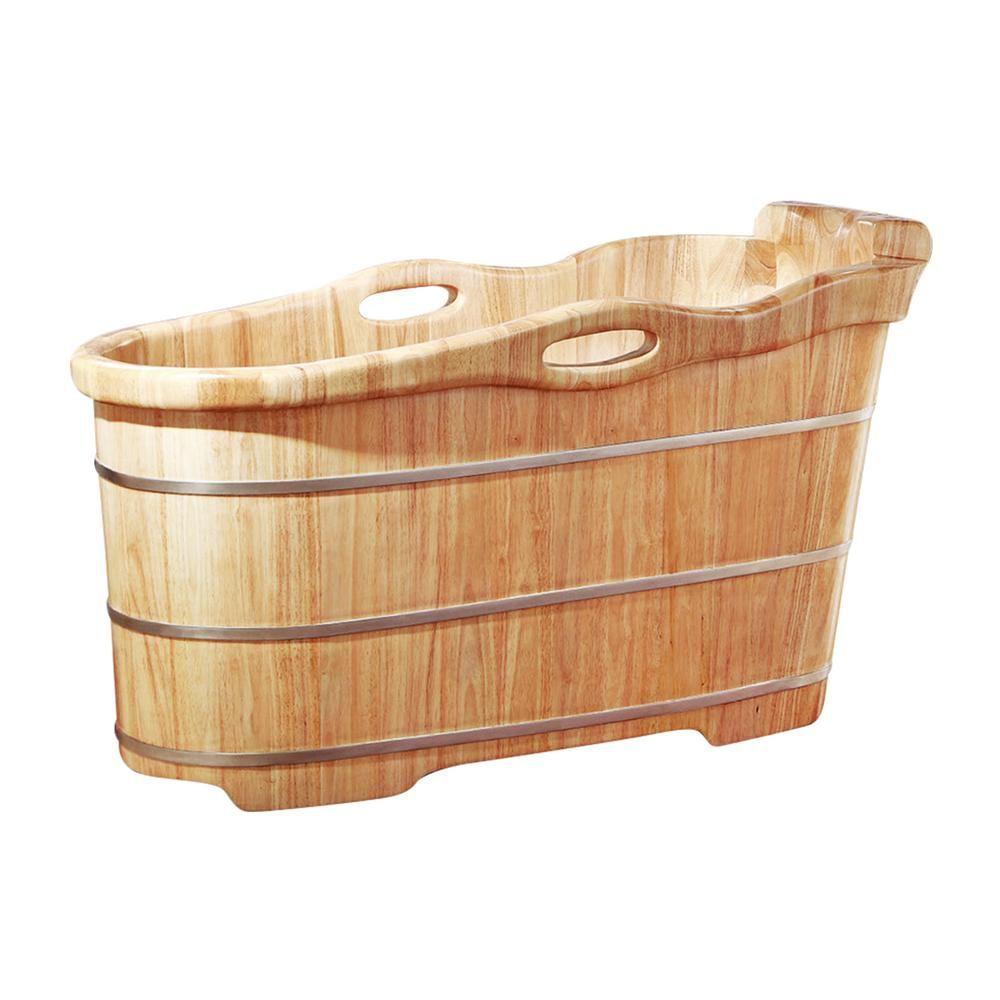 ALFI BRAND 57 in. Wood Flatbottom Bathtub in Natural Wood | Mi apt ...