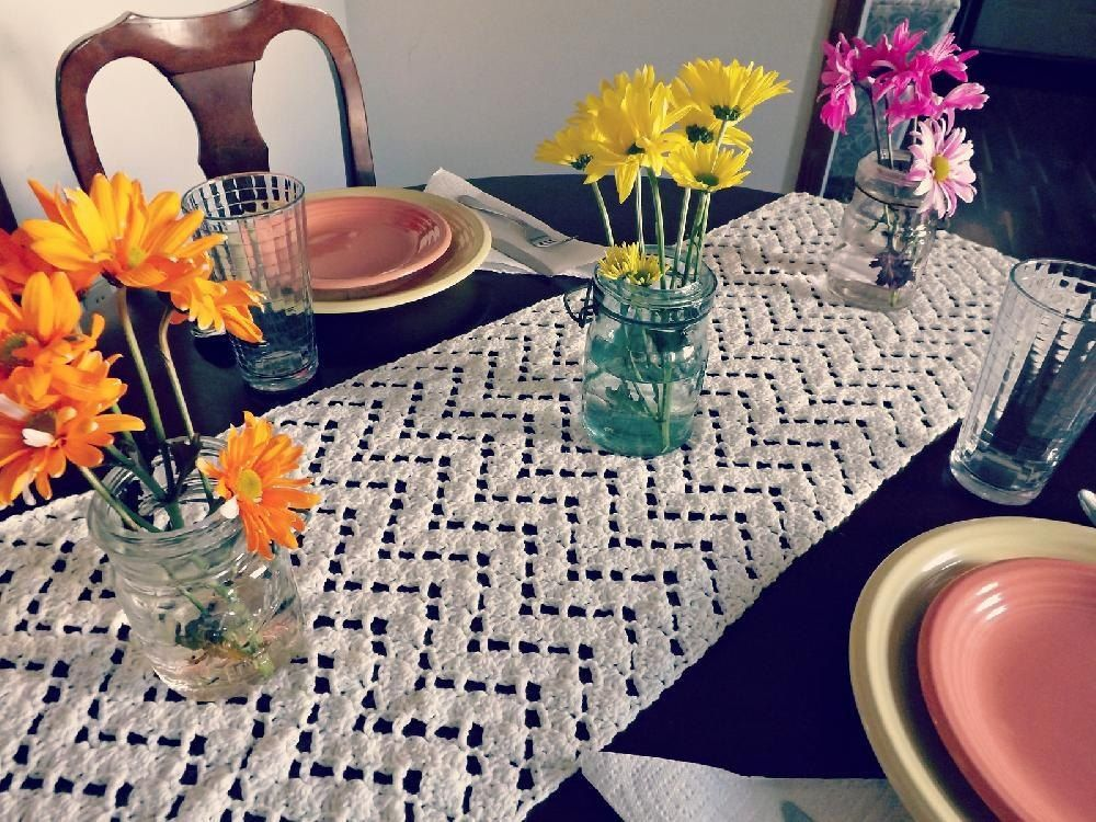 This Table Runner Takes A Vintage Item And Puts A Modern Twist To It. This
