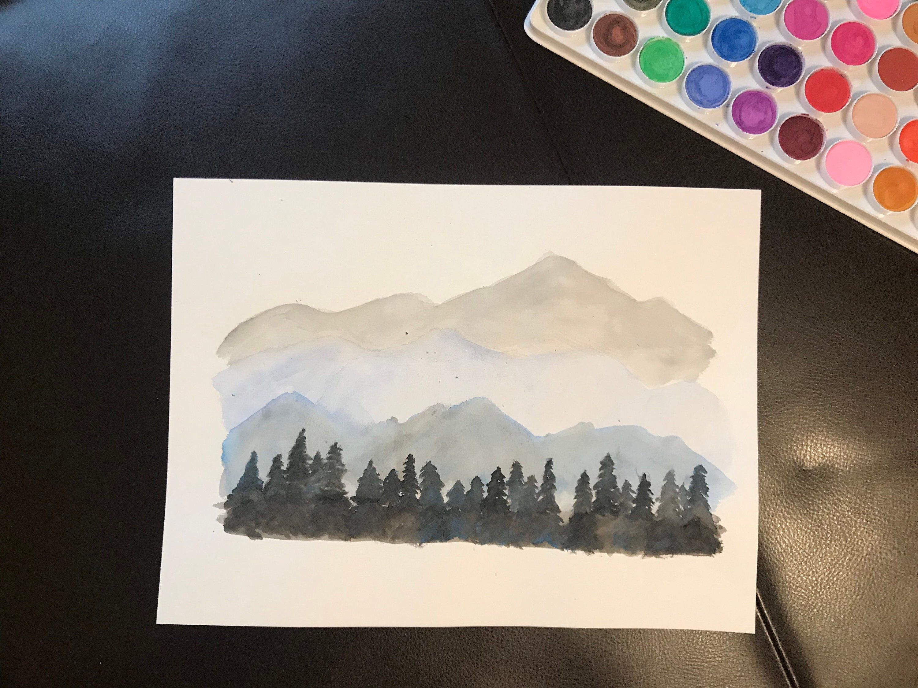 Water Color Painting Wall Art Mountains 9x12 Painting