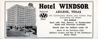 Hotel Windsor Abilene Texas 275 Rooms Tub Shower Or Both 1956