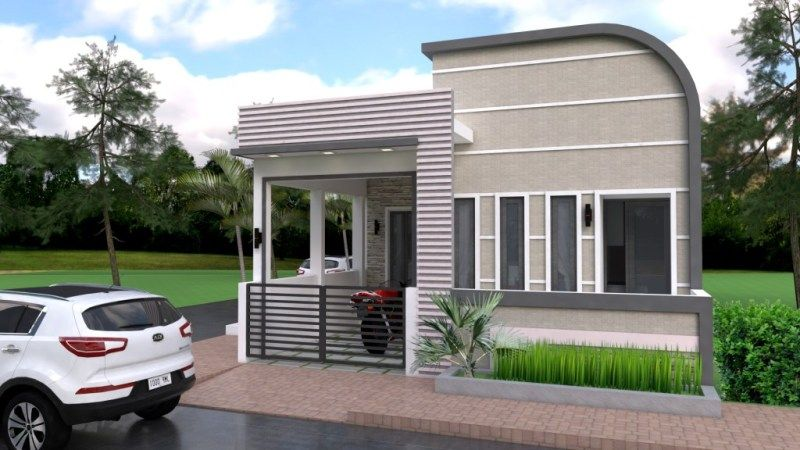 This Modern Half House Is A Semi Detached Single Storey House It Has All The Rooms That The Family Needs One Storey House Bungalow House Design House Design