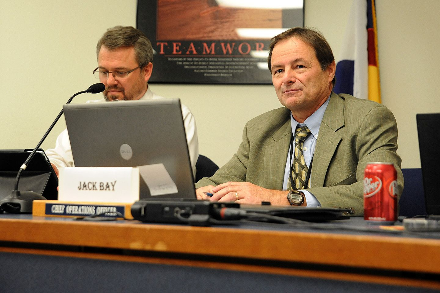 Jack Bay, chief operations officer, introduces himself Jan. 10 during a Board of Education meeting in Falcon School District 49.