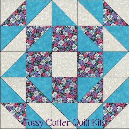 Blue Pink Purple Daisy Flowers Floral Fabric Easy Pre-Cut Quilt ... : pre cut quilt patterns - Adamdwight.com