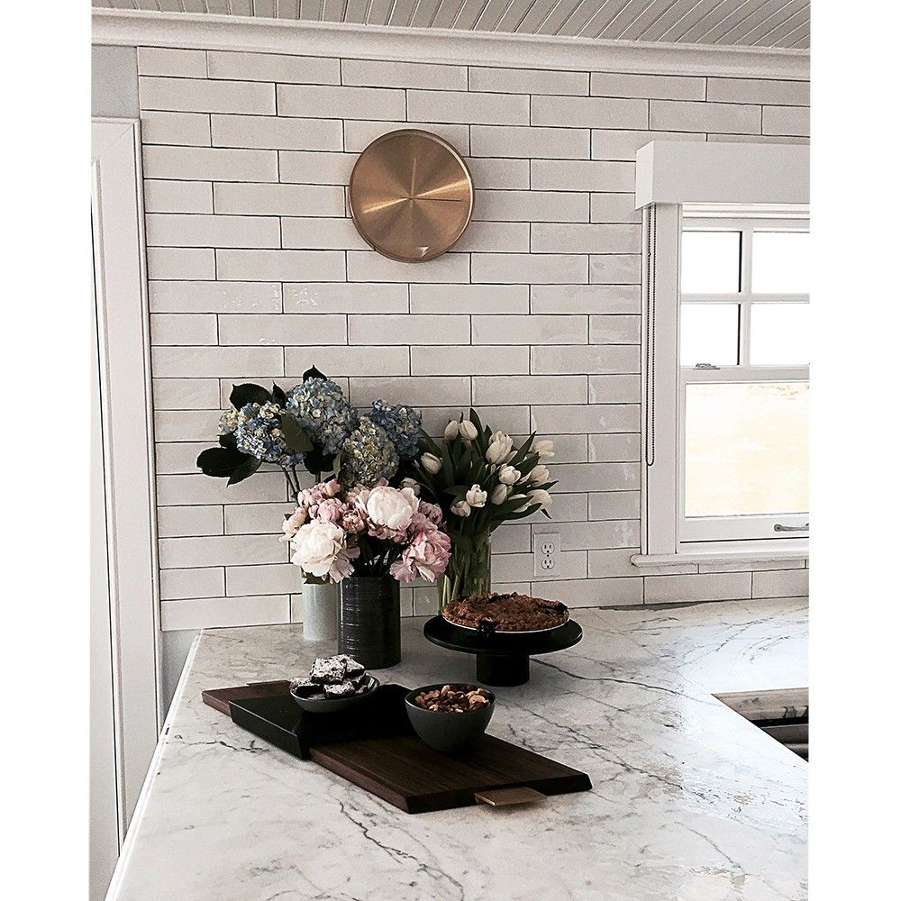 3x12 Tile Lancaster Bianco Ceramic White Kitchen Remodel Kitchen Inspirations Ceramic Tile Backsplash