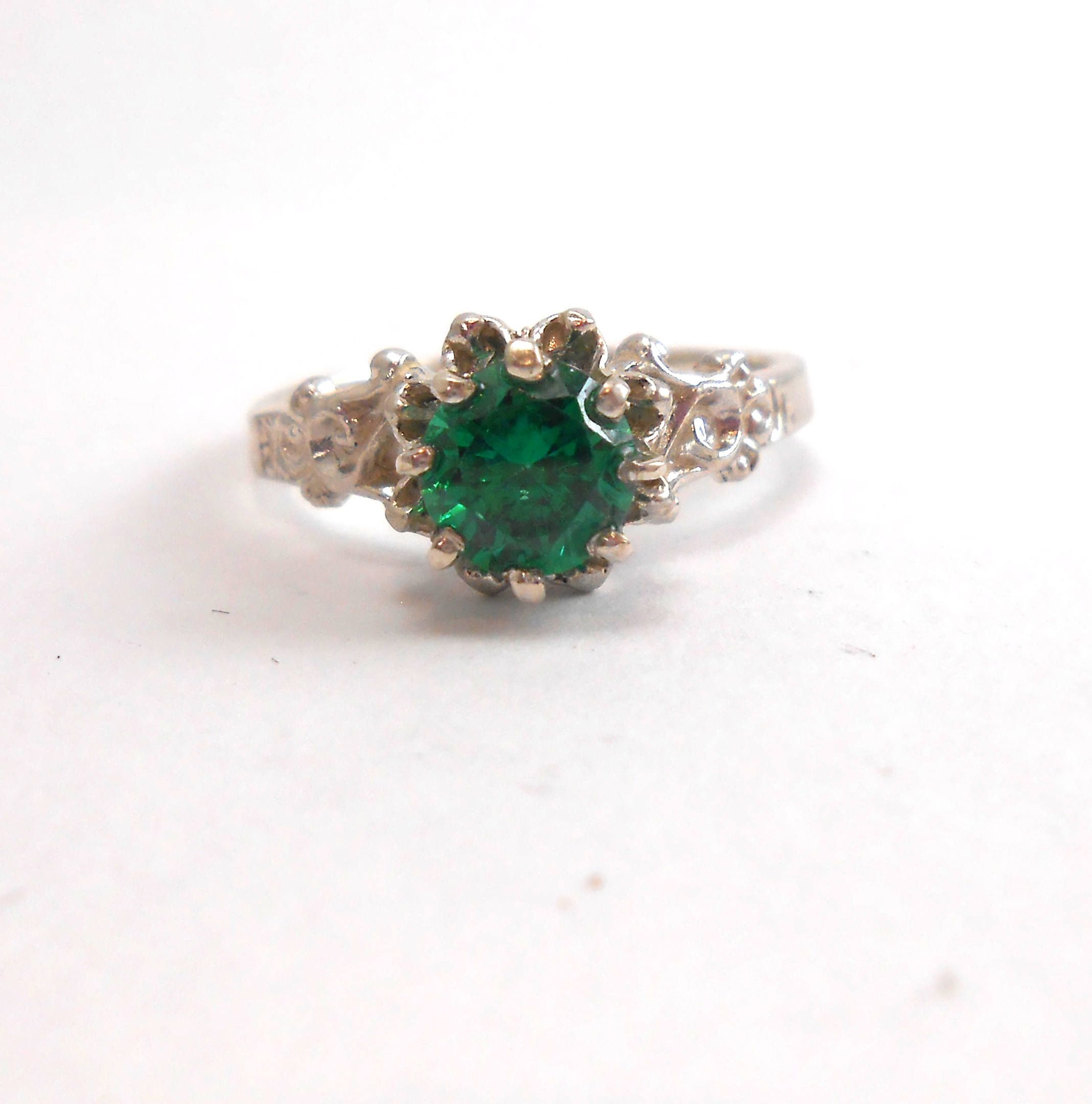 emerald dark color ori etsy green com gemstone details ring now stackable rings buy from