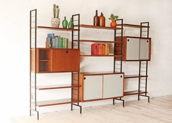 mid century teak wall unit free standing by
