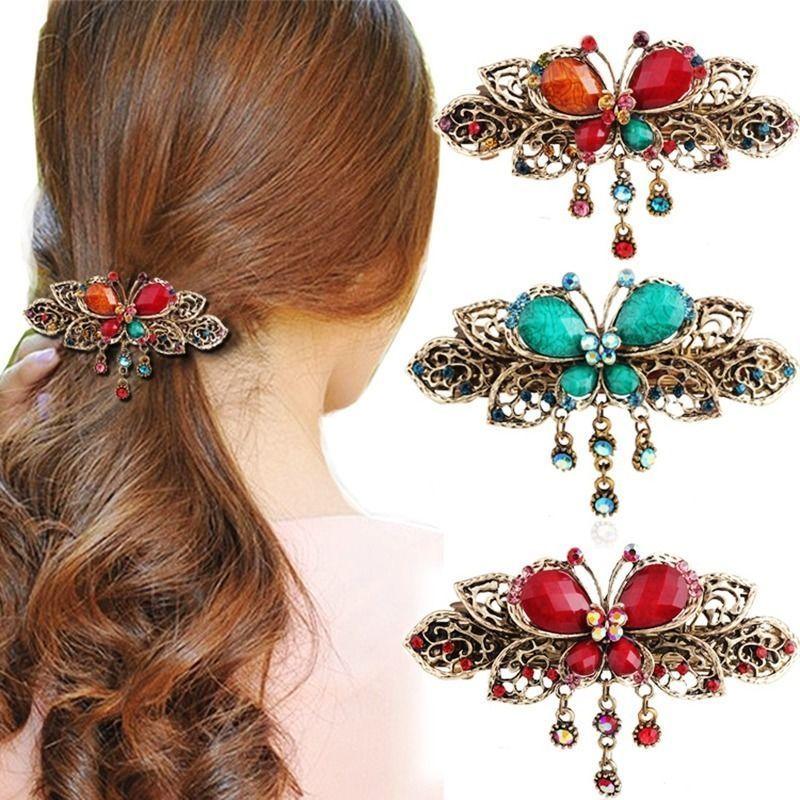 Women/'s Rhinestone Barrette Flower Hairpin Hair Clip Bridal Jewelry Duckbill