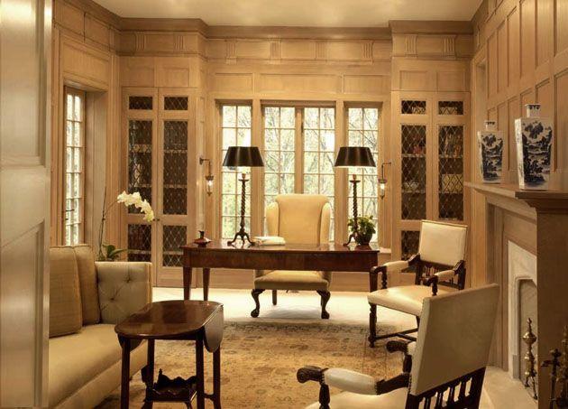 Classic study room interior design ideas beige sofa glossy for Study room interior design ideas