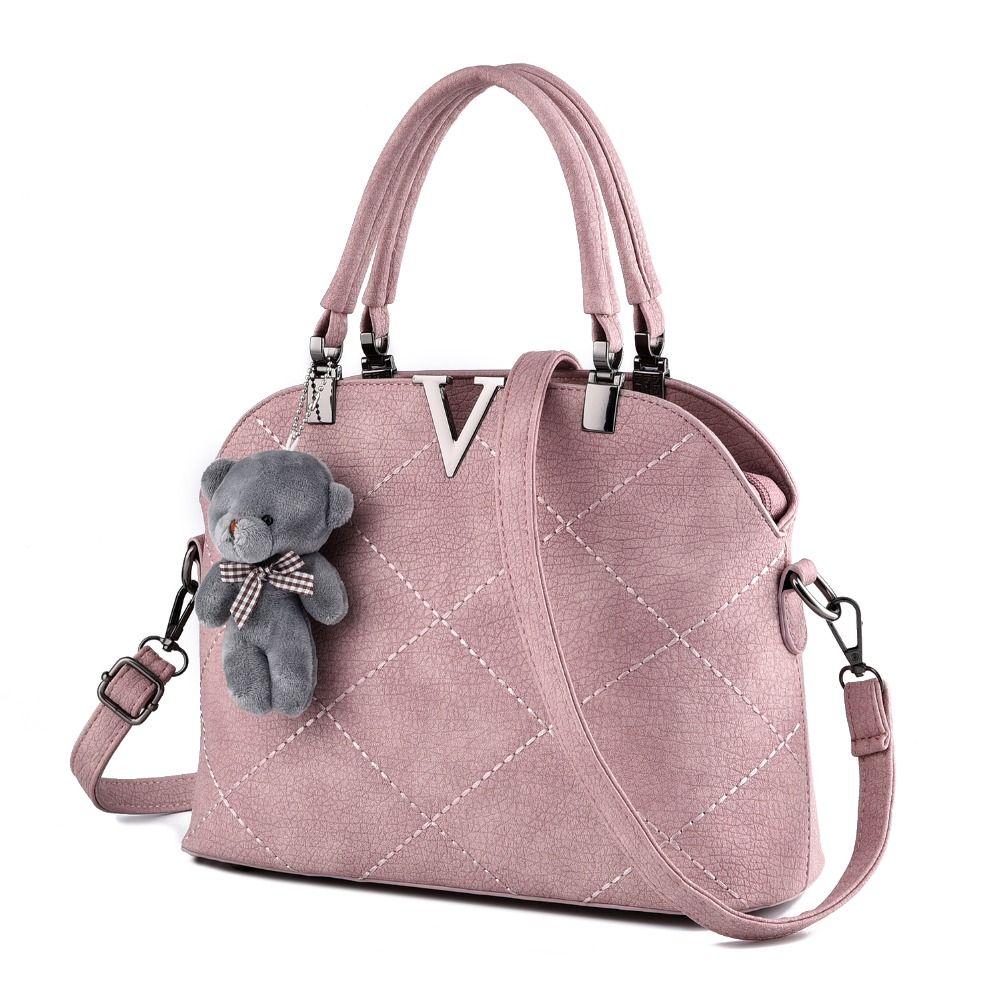 Free shipping 2017 new women PU handbag. Fashion Bear Strap solid shoulder  bag. Large e9016535fd3b5
