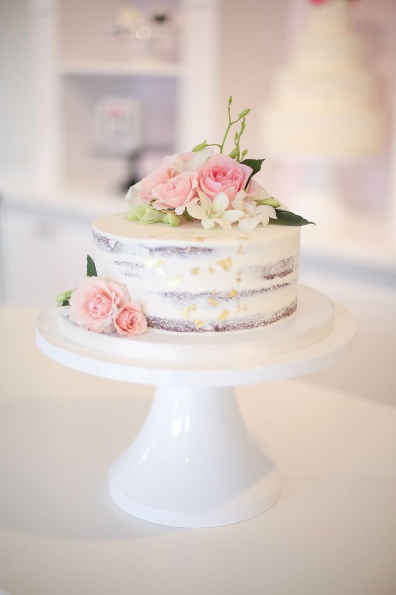 Semi Naked Cake With Pink Roses And Orchids Wedding