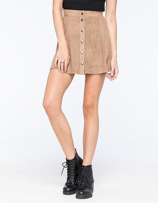 34611f4a9 FULL TILT Snap Front Suede Skater Skirt 266810410   Short Skirts ...