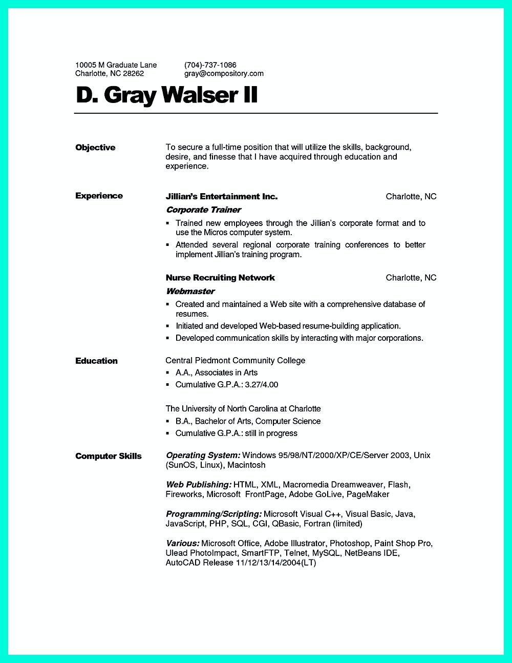 Corporate Trainer Resume Can Be In Chronological Or Reverse Chronologic Style As Both Of Them Can Show The Main Poin Resume Template Resume Job Resume Examples