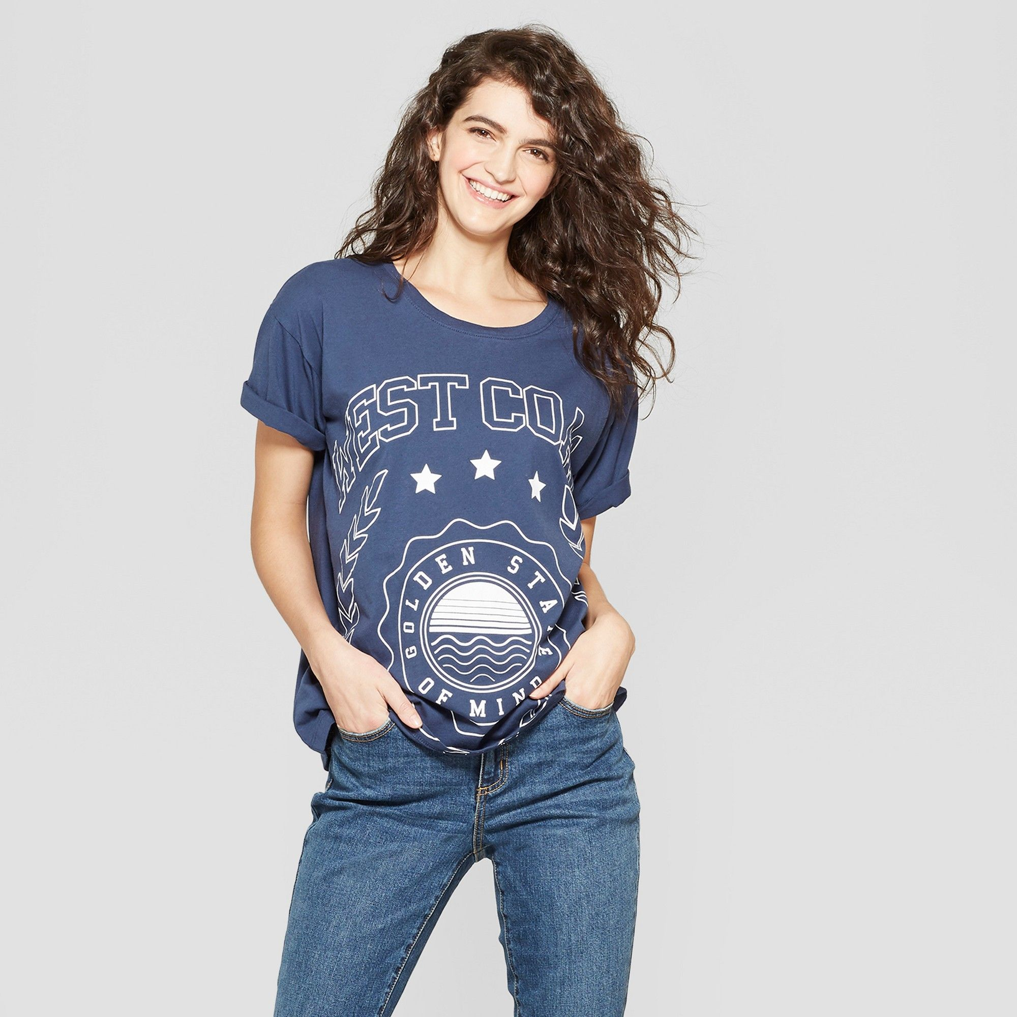 a586120b989 Women s Short Sleeve West Coast Graphic T-Shirt - Modern Lux (Juniors )  Blue XL