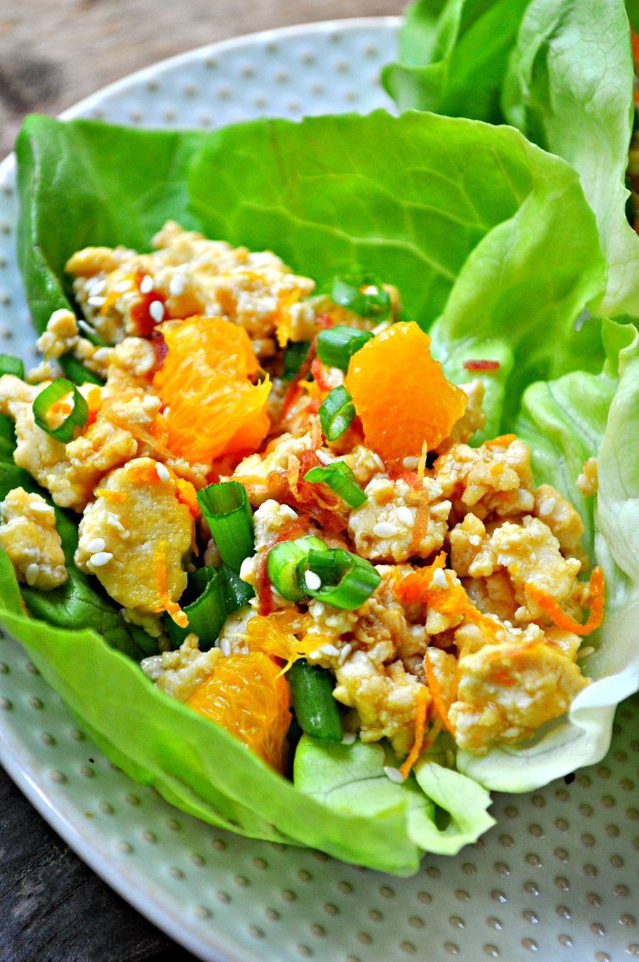 Vegan Orange Tofu Lettuce Wraps