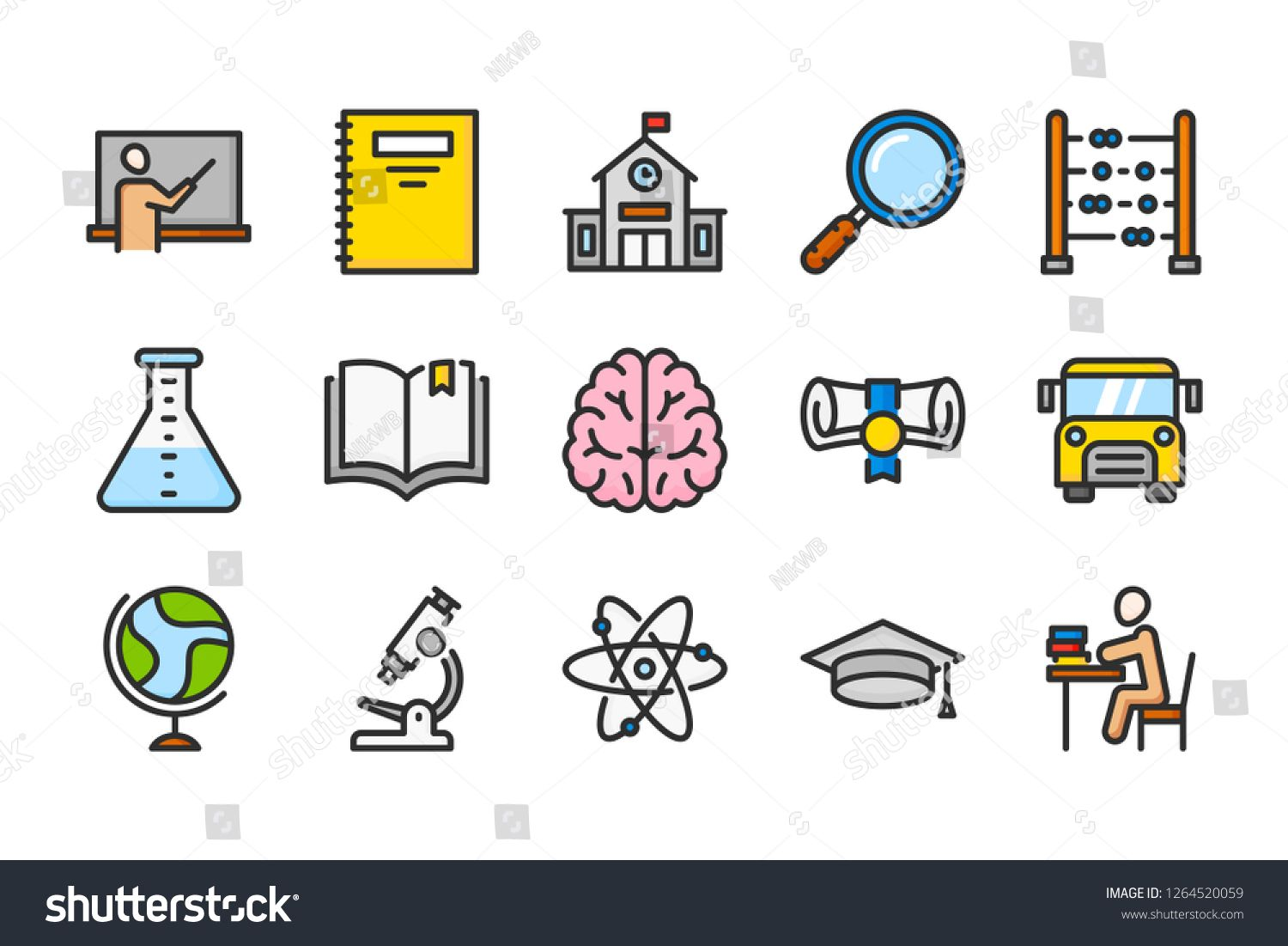 School And Study Color Line Icons Education And Learning Vector