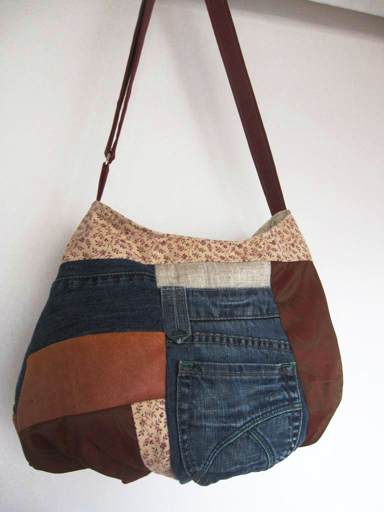 Sac jean cuir recyclé denim upcycling,sac patchwork,country