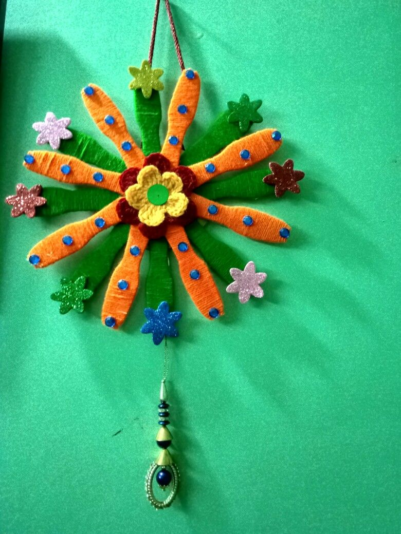My Today S Craft With Ice Cream Stick Wool And Colorful Stone