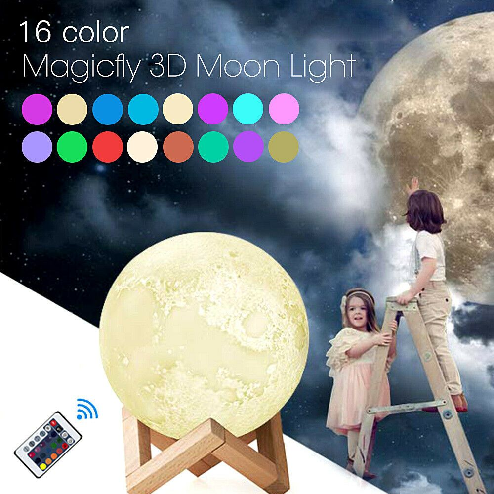 This Is A Link To Amazon Uk And As An Amazon Associate I Earn From Qualifying Purchases Rechargeable 16 Colorful Moon Night Light Bedroom Kids Lamp Dimmable Le