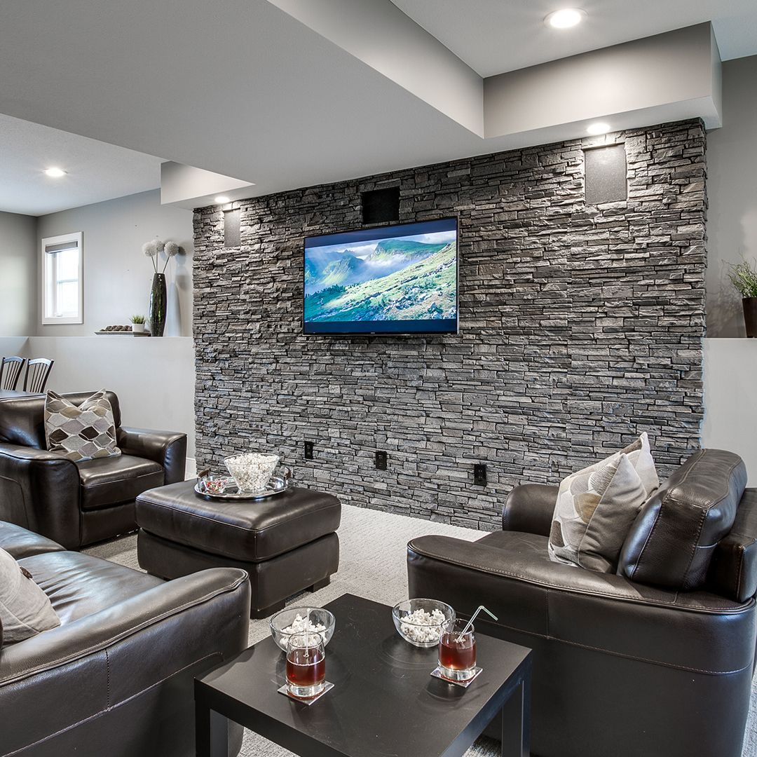 Stacked Stone 6x48 Panel Grey Stone Wall Interior Living