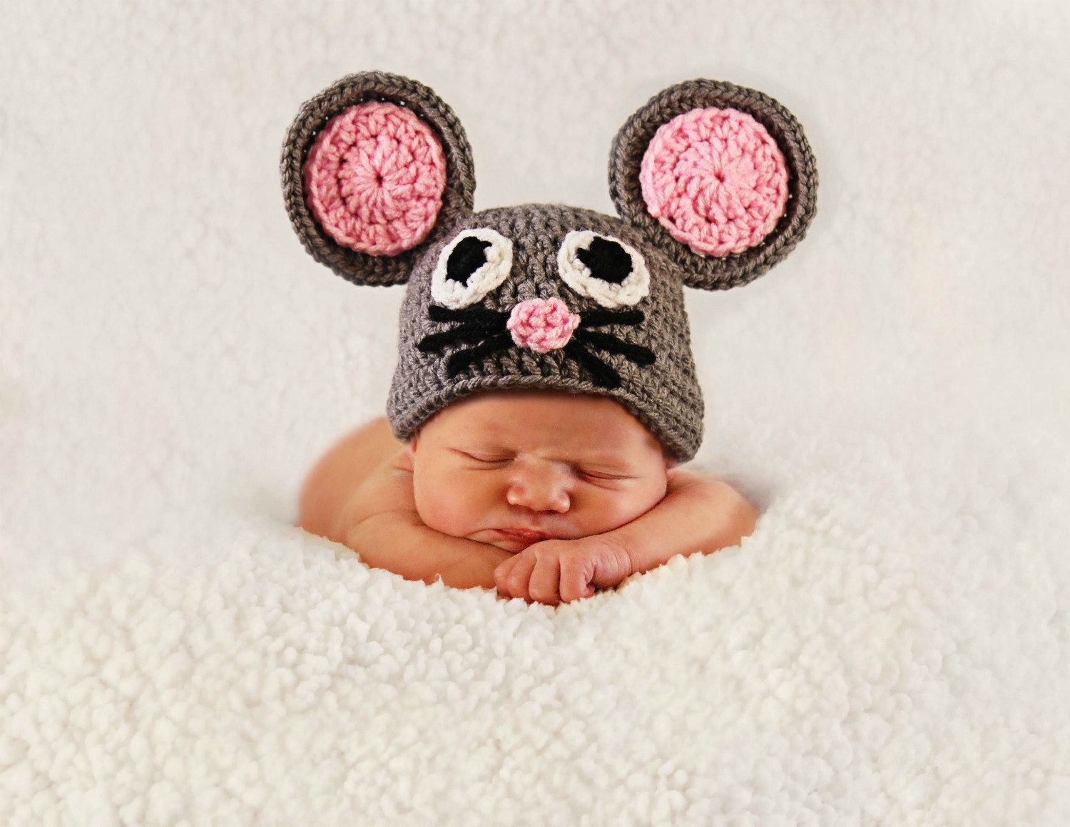 Crochet Mouse Hat Animal Hats Photography Props Gray And Pink Cute