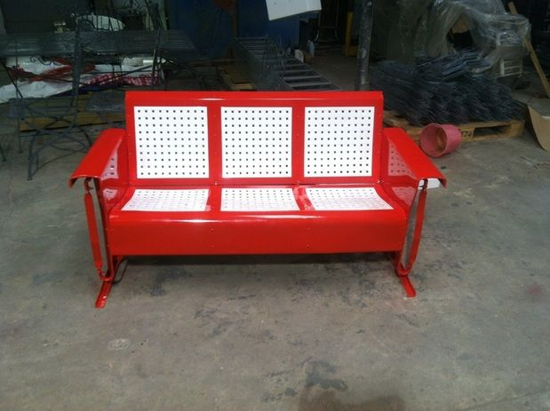 Powdercoated Restored Vintage Metal Patio Gliders   Vintage Metal Gliders,Old  Fashioned Metal Chairs And