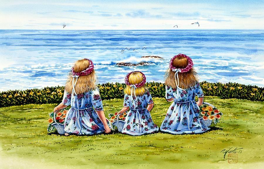 Flower Girls Painting  - Flower Girls Fine Art Print