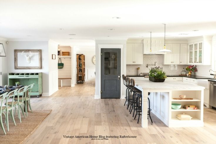 How To Update Your Kitchen To Farmhouse Style New Or Existing Vintage American Home Open Floor Plan Kitchen Modern Floor Plans Rafterhouse