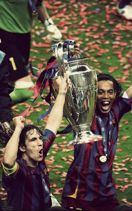Barcelona campeon champions league 2006 (Ronaldinho and Carlos Puyol)