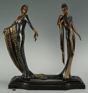 "Romain Erte, (Russian, 1892-1990) Bronze sculpture of two women in Art Deco style clothing, ""Duetto"", signature inscribed on base. Stamped 445/500,1989 Sevenarts Ltd. London. 19″H x 18″ W x 7″D. Provenance: purchased from Dyansen Gallery."