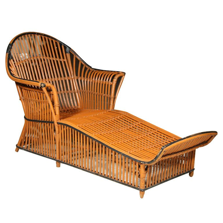 Superb Split Reed Rattan Chaise Lounge